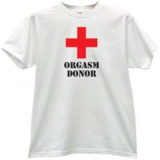 Orgasm Donor Sexy T-shirt in white